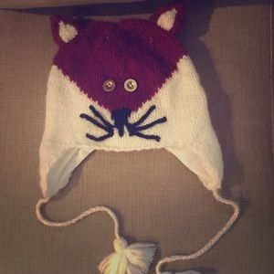 Anthro Knit Fox Hat